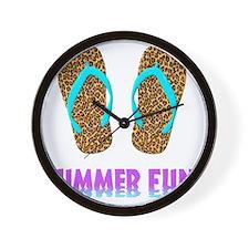 Flip Flops Leoperd Lt Blue Straps 2 3D Wall Clock