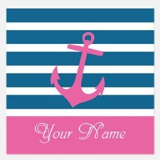 Pink Anchor On Stripe - Personalized 5.25 x 5.25 F