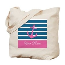 Pink Anchor On Stripe - Personalized Tote Bag