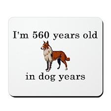 80 birthday dog years collie 2 Mousepad