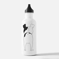 BlkFoxTerrierShirtBack Water Bottle