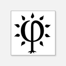 "PhiTree_lg_black Square Sticker 3"" x 3"""