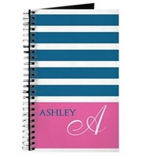 Pink Monogram Blue and White Stripe Journal