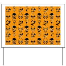 four skulls pillowcase orange Yard Sign