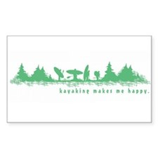 Kayaking Makes Me Happy Rectangle Decal