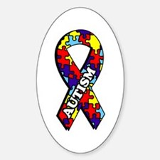 Autism Awareness Ribbon Oval Decal