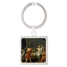 death of socrates shower Square Keychain