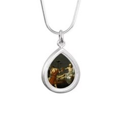 death of socrates shower Silver Teardrop Necklace