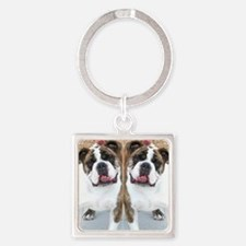 bulldog flip flops Square Keychain