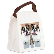 bulldog flip flops Canvas Lunch Bag