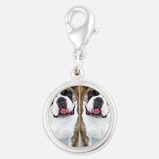 bulldog flip flops Silver Round Charm