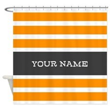 Orange and White Stripes Personalized Shower Curta