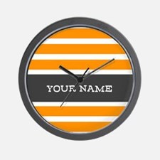 Orange and White Stripes Personalized Wall Clock