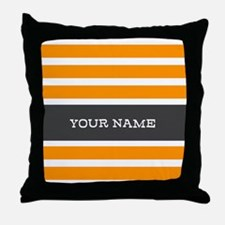Orange and White Stripes Personalized Throw Pillow