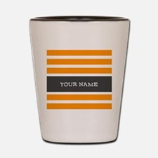 Orange and White Stripes Personalized Shot Glass