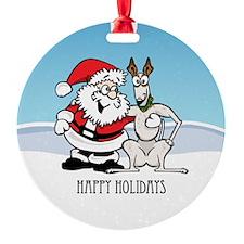 Santa And Greyhound Ornament