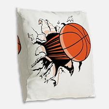 BasketballSC.gif Burlap Throw Pillow