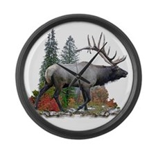 Bull elk r Large Wall Clock