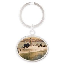 anchorage framed panel print Oval Keychain