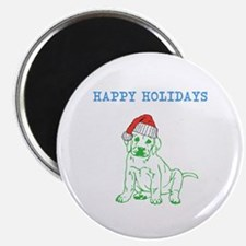 HAPPY HOLIDAYS SANTA DOG. Magnets