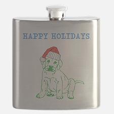HAPPY HOLIDAYS SANTA DOG. Flask