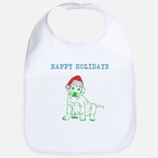 HAPPY HOLIDAYS SANTA DOG. Bib