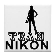10x10_apparel.TEAM NIKON.blk copy Tile Coaster