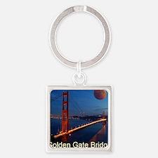 golden_gate_bridge_redmoon Square Keychain