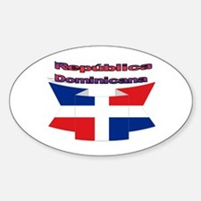 Republica Dominicana ribbon Oval Decal