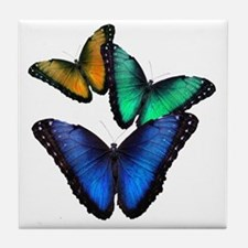 Tri-colored Butterflies Tile Coaster