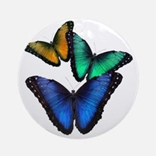 Tri-colored Butterflies Round Ornament