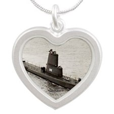 angler agss large framed pri Silver Heart Necklace