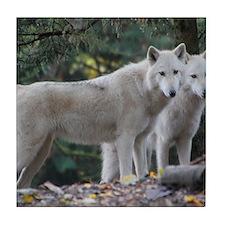 White Wolves Tile Coaster