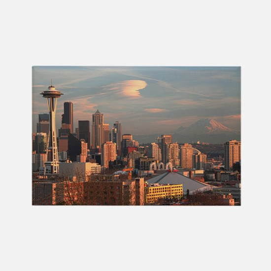 Seattle Space Needle Skyline Rectangle Magnet
