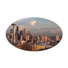 Seattle Space Needle Skyline Oval Car Magnet