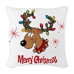 Merry Christmas Reindeer Woven Throw Pillow
