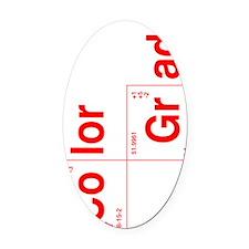 colorista_5-outline_red_side2 Oval Car Magnet