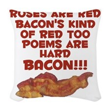 baconpoemwhite Woven Throw Pillow