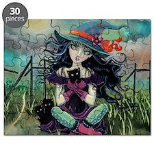 Kitten Witch Halloween Art Puzzle
