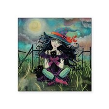 "Kitten Witch Halloween Art Square Sticker 3"" x 3"""