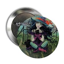 "Kitten Witch Halloween 2.25"" Button"