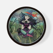 Kitten Witch Halloween Wall Clock