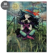 Kitten Witch Halloween Puzzle