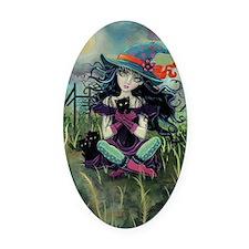Kitten Witch Halloween Oval Car Magnet