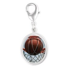 baskertball Silver Oval Charm