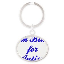 blue for autism Oval Keychain