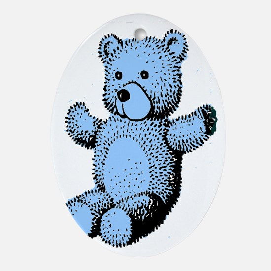 blue bear4 Oval Ornament