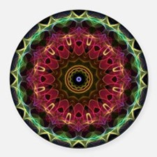 Deep Flower with leaves kaleidosc Round Car Magnet