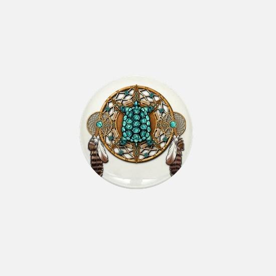 Turquoise Tortoise Dreamcatcher Mini Button