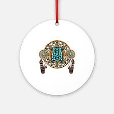 Turquoise Tortoise Dreamcatcher Round Ornament